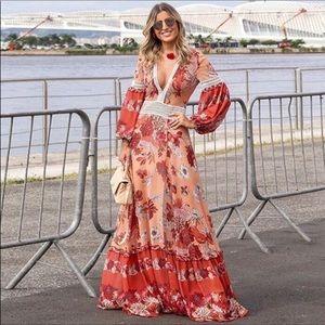 Bohemian Gypsy Crochet Floral Flowing Maxi Dress